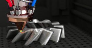 Particolare di stampa 3d di metallo con additive manufacturing