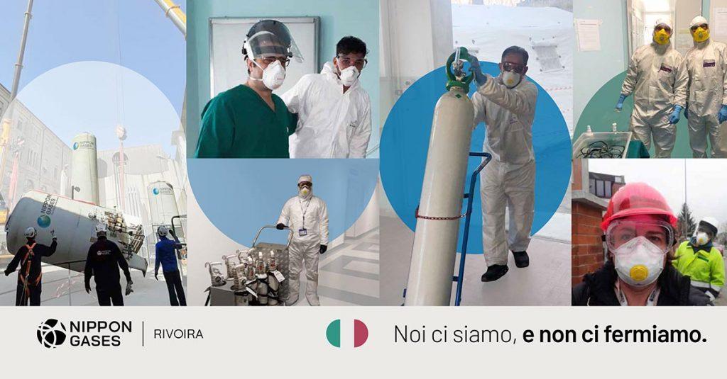 Operatori di Nippon Gases Italia portano ossigeno Medicale