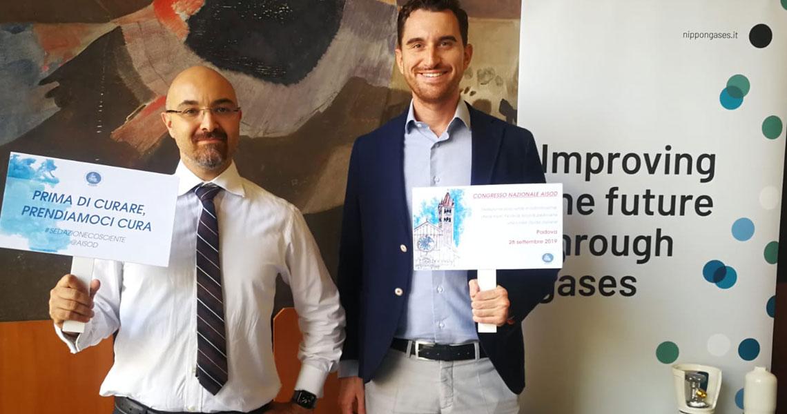 Giacomo Pasini e Nicola Boratto di Nippon Gases Italia Pharma al congresso Aisod di Padova