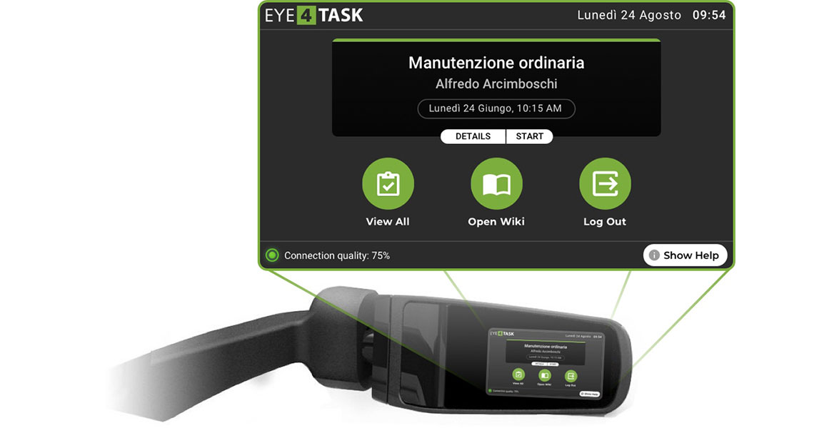 collaudo delle bombole smart glasses